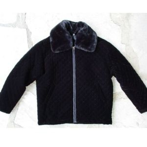 East West Black Quilted Puffy Pimp Coat - P Small